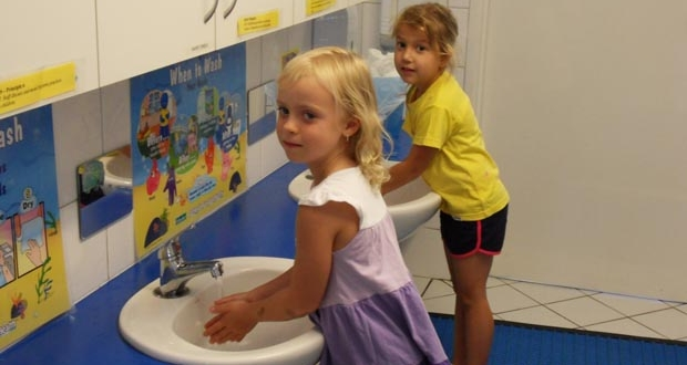 Strathalbyn child care centre hand washing in bathroom