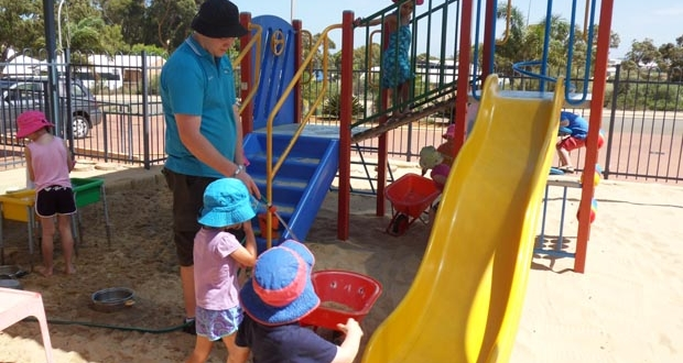 Strathalbyn child care sandpit and slide fort